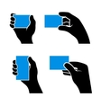 Set of Hands Holding Different Business Cards vector image vector image