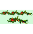 Christmas garland of fir branches and ornaments vector image