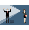 Business woman holding flashlight glow to vector image vector image