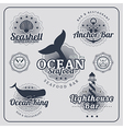 Vintage restaurant nautical labels set vector image