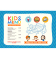 Cute colorful kids meal menu placemat template vector image vector image