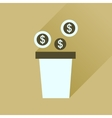 Flat icon with long shadow pot of coins vector image