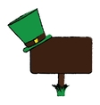 cartoon wooden sign st patrick day hat vector image