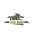 cross road symbol with highway and cross ways vector image