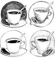 four sketch of teacups and lemon slice vector image