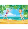 2 girls on tropical beach vector image