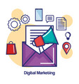 digital marketing megaphone and email message vector image