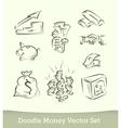 finance doodle set isolated on white background vector image