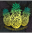 ink hand drawn background with pineapples vector image