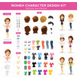 women character design kit vector image