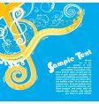 violin key floral design vector image vector image