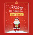 Christmas greeting card poster with Santa Claus vector image vector image
