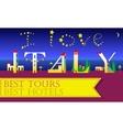 I love Italy Inscription Holiday houses Font vector image