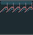 hanged candies under snowflakes on dark background vector image