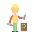 kid throwing plastic bottles into a recycling bin vector image