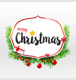 merry christmas calligraphy text on frame with vector image