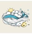 Romantic Whale Swimming in Clouds Retro Design vector image