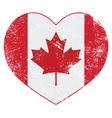 Canada heart retro flag vector image vector image
