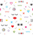 colorful modern retro feminine fun icons pattern vector image