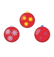 Different colored Christmas balls with ornaments vector image