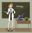 female teacher in front of blackboard vector image