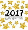 Happy New Year 2017 card with gold textured star vector image