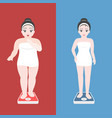 overweight women in towel on scale vector image