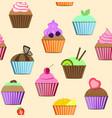 seamless patterns cupcakes set vector image