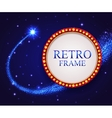 Shining retro frame with falling star Night blue vector image