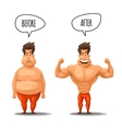Weight loss Man before and after diet vector image