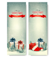 Two retro holiday banners with gift boxes and vector image vector image
