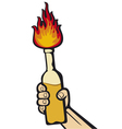 hand holding a molotov cocktail vector image vector image
