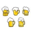 Glass beer tankards vector image