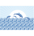 dolphins in the sea vector image vector image