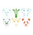 Isolated Wild animal heads vector image
