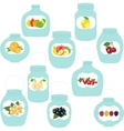 Jars set label with fruits and berries vector image