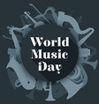 abstract dark colored international music day vector image