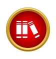 Books on the shelf icon simple style vector image