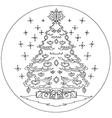 Christmas tree coloring mandala vector image
