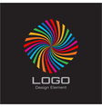 Colorful Bright Rainbow Spiral Logo on Black Backg vector image