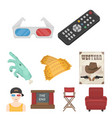 films and cinema set icons in cartoon style big vector image