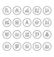 set round line icons of architecture vector image