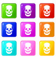 skull set 9 vector image