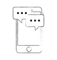 smartphone device with speech bubbles vector image