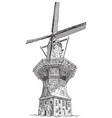 windmill de gooyer in amsterdam vector image
