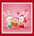 happy easter couple bunny basket egg celebration vector image