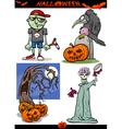 Halloween Cartoon Spooky Themes Set vector image vector image