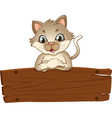 An empty wooden signboard with a cat vector image
