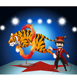 Tiger jumping through ring of fire vector image