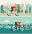 cyclist riding on bicycle on city and countryside vector image vector image